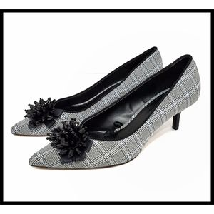 ZARA BASIC Plaid Kitten Heel Pump Toe Beads 37 NEW